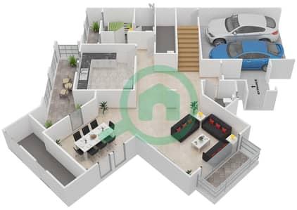 المخططات الطابقية لتصميم النموذج E فیلا 3 غرف نوم - شروق مردف
