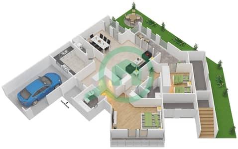 المخططات الطابقية لتصميم النموذج D فیلا 4 غرف نوم - شروق مردف