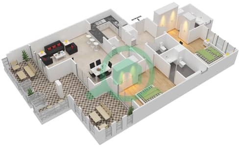 المخططات الطابقية لتصميم النموذج C شقة 2 غرفة نوم - شروق مردف