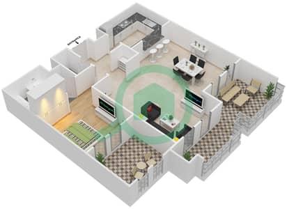 المخططات الطابقية لتصميم النموذج B شقة 1 غرفة نوم - شروق مردف