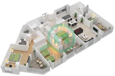 المخططات الطابقية لتصميم النموذج 3 شقة 3 غرف نوم - غروب مردف