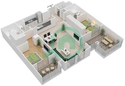 المخططات الطابقية لتصميم النموذج 2 شقة 2 غرفة نوم - غروب مردف