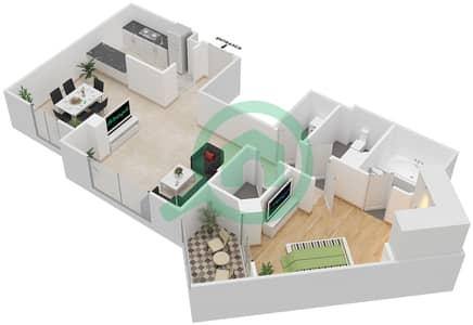 المخططات الطابقية لتصميم النموذج 1 شقة 1 غرفة نوم - غروب مردف