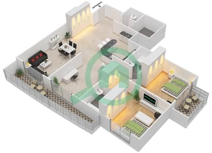 Arena Apartments - 2 Bedroom Apartment Suite 10 Floor plan