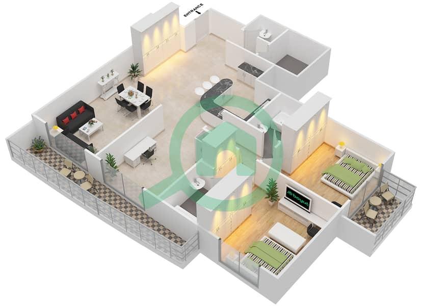 المخططات الطابقية لتصميم التصميم 10 شقة 2 غرفة نوم - شقق الأرينا Floor 1-10 image3D