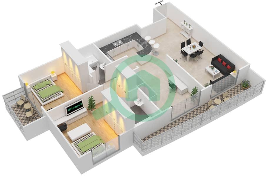 المخططات الطابقية لتصميم التصميم 11 شقة 2 غرفة نوم - شقق الأرينا Floor 1-10 image3D