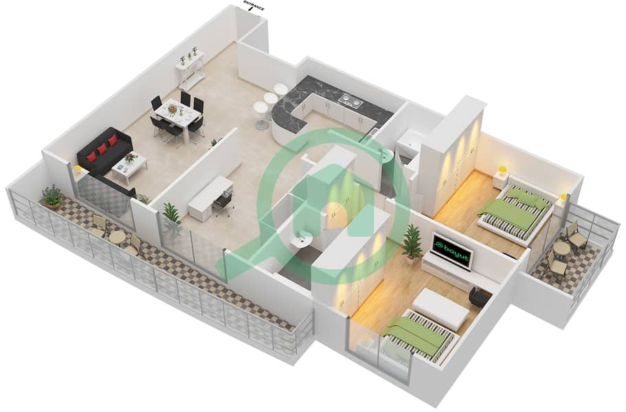المخططات الطابقية لتصميم التصميم 4 شقة 2 غرفة نوم - شقق الأرينا Floor 1-10 image3D