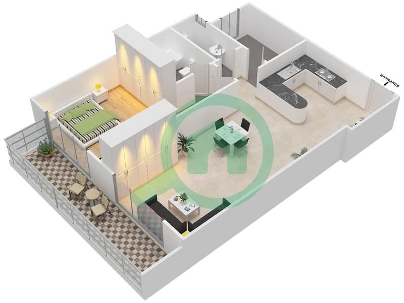 المخططات الطابقية لتصميم التصميم 14 شقة 1 غرفة نوم - شقق الأرينا Floor 1-10 image3D