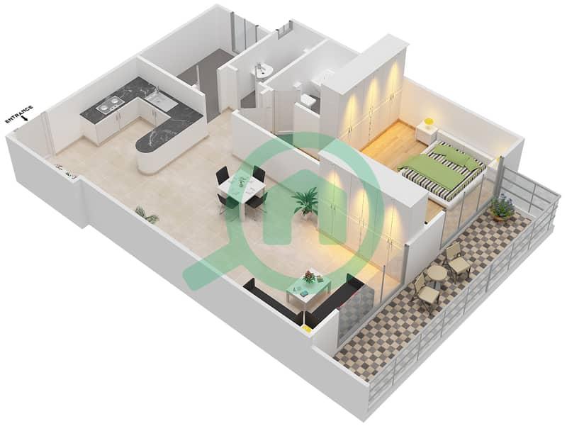 المخططات الطابقية لتصميم التصميم 1 شقة 1 غرفة نوم - شقق الأرينا Floor 1-10 image3D