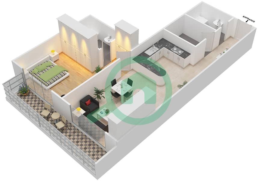 المخططات الطابقية لتصميم التصميم 9 شقة 1 غرفة نوم - شقق الأرينا Floor 1-10 image3D
