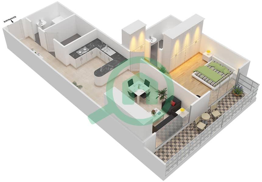 المخططات الطابقية لتصميم التصميم 6 شقة 1 غرفة نوم - شقق الأرينا Floor 1-10 image3D