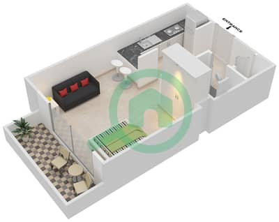 Wimbledon Tower - Studio Apartments type G Floor plan