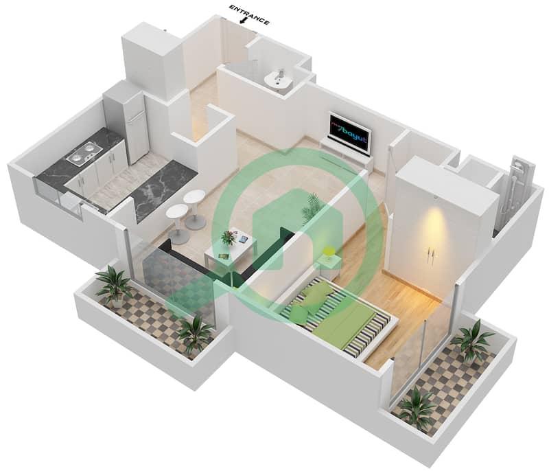 المخططات الطابقية لتصميم النموذج A شقة 1 غرفة نوم - برج ويمبلدون image3D