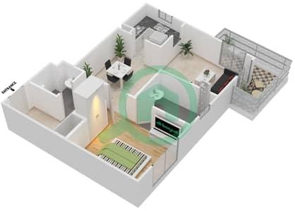 المخططات الطابقية لتصميم النموذج G شقة 1 غرفة نوم - برج القناة 1