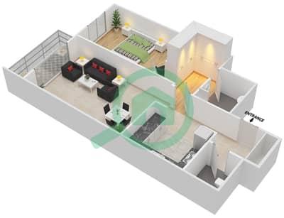 المخططات الطابقية لتصميم النموذج B شقة 1 غرفة نوم - برج القناة 1