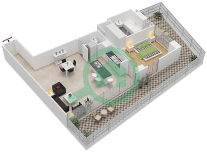 المخططات الطابقية لتصميم النموذج 9 شقة 1 غرفة نوم - ذا ميتركس
