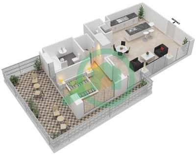 المخططات الطابقية لتصميم النموذج 8 شقة 1 غرفة نوم - ذا ميتركس