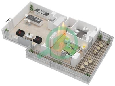 المخططات الطابقية لتصميم النموذج 7 شقة 1 غرفة نوم - ذا ميتركس