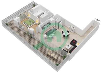 المخططات الطابقية لتصميم النموذج 6 شقة 1 غرفة نوم - ذا ميتركس