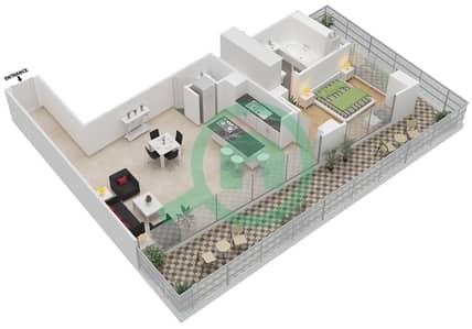 المخططات الطابقية لتصميم النموذج 2 شقة 1 غرفة نوم - ذا ميتركس