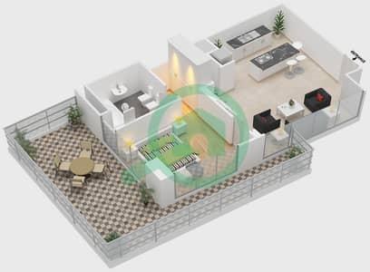 المخططات الطابقية لتصميم النموذج 1 شقة 1 غرفة نوم - ذا ميتركس