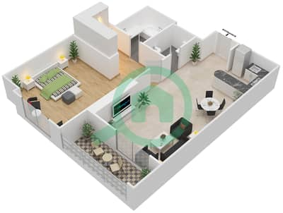 المخططات الطابقية لتصميم النموذج 12 شقة 1 غرفة نوم - المساكن الحمراء
