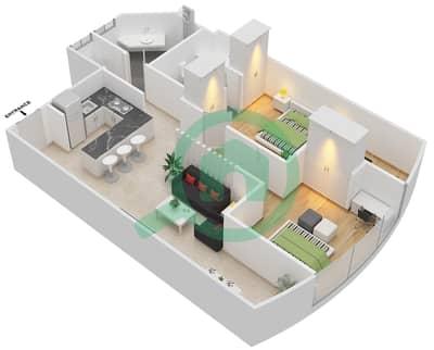 المخططات الطابقية لتصميم النموذج 11 شقة 2 غرفة نوم - المساكن الحمراء