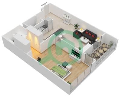 المخططات الطابقية لتصميم النموذج 10 شقة 1 غرفة نوم - المساكن الحمراء
