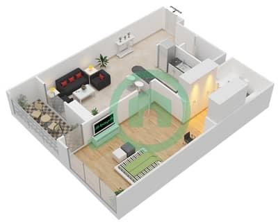 المخططات الطابقية لتصميم النموذج 9 شقة 1 غرفة نوم - المساكن الحمراء