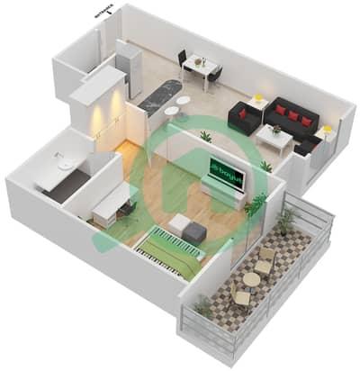 المخططات الطابقية لتصميم النموذج 6 شقة 1 غرفة نوم - المساكن الحمراء