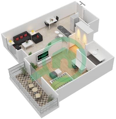 المخططات الطابقية لتصميم النموذج 5 شقة 1 غرفة نوم - المساكن الحمراء