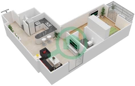 المخططات الطابقية لتصميم النموذج 2 شقة 1 غرفة نوم - المساكن الحمراء
