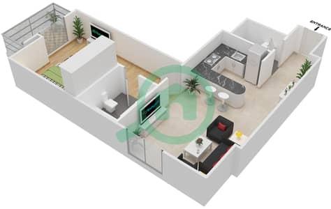 المخططات الطابقية لتصميم النموذج 1 شقة 1 غرفة نوم - المساكن الحمراء