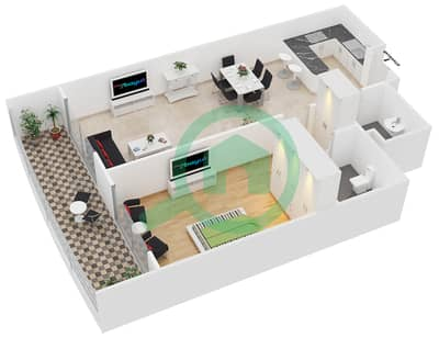 Hamza Tower - 1 Bedroom Apartment Type C Floor plan