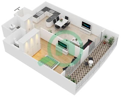 Hamza Tower - 1 Bedroom Apartment Type B Floor plan