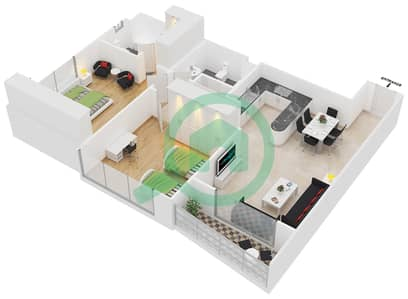 Hamza Tower - 2 Bedroom Apartment Type A Floor plan