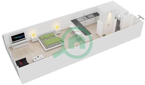 Frankfurt Sports Tower - Studio Apartment Type/unit J /12 Floor plan