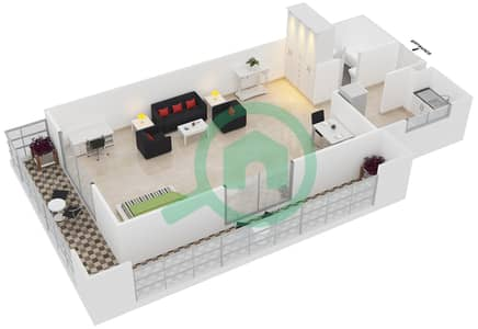 Frankfurt Sports Tower - Studio Apartment Type/unit H /1 Floor plan