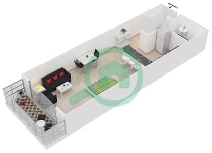 Frankfurt Sports Tower - Studio Apartment Type/unit F /3 Floor plan
