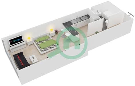 Frankfurt Sports Tower - Studio Apartment Type/unit D /7 Floor plan