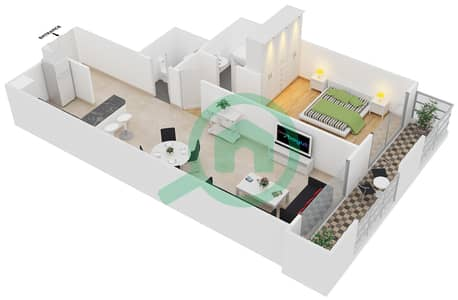 Frankfurt Sports Tower - 1 Bedroom Apartment Type/unit C /14 Floor plan
