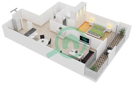 Frankfurt Sports Tower - 1 Bedroom Apartment Type/unit A /6 Floor plan