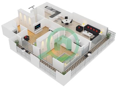 Frankfurt Sports Tower - 2 Bedroom Apartment Type/unit A /15 Floor plan