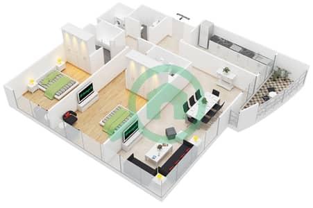 المخططات الطابقية لتصميم النموذج 2 شقة 2 غرفة نوم - برج أولمبيك بارك