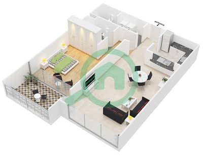 المخططات الطابقية لتصميم النموذج 1 شقة 1 غرفة نوم - برج أولمبيك بارك