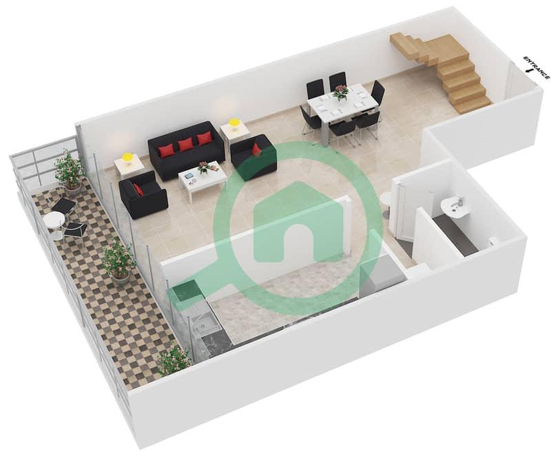 المخططات الطابقية لتصميم النموذج A شقة 2 غرفة نوم - رويال ريزيدنس 1 Lower Floor image3D