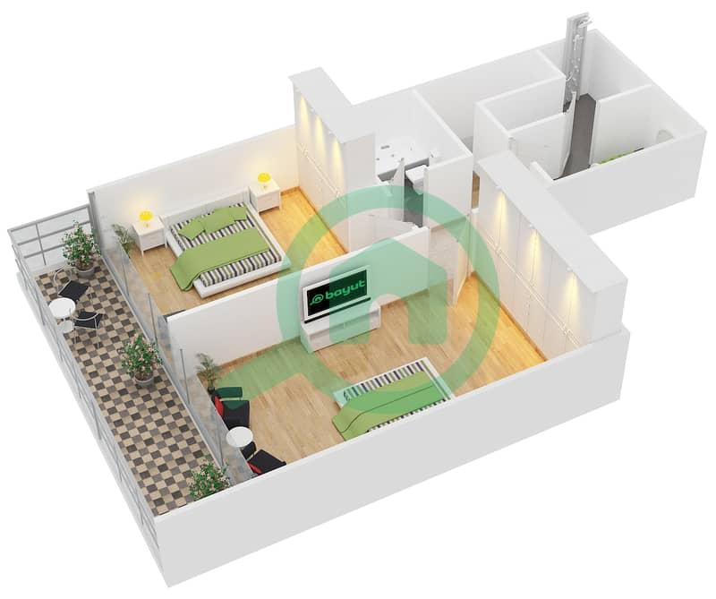 المخططات الطابقية لتصميم النموذج A شقة 2 غرفة نوم - رويال ريزيدنس 1 Upper Floor image3D