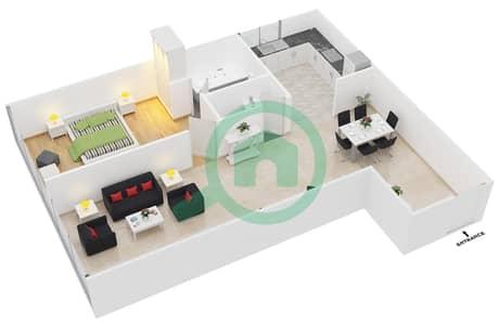 المخططات الطابقية لتصميم النموذج A1 شقة 1 غرفة نوم - رويال ريزيدنس 1