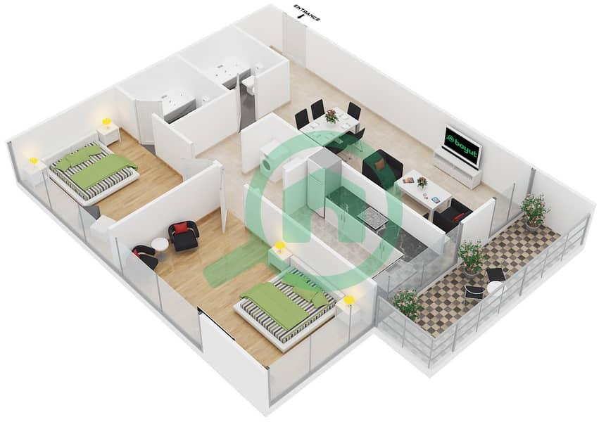 المخططات الطابقية لتصميم النموذج A1 شقة 2 غرفة نوم - رويال ريزيدنس 1 image3D