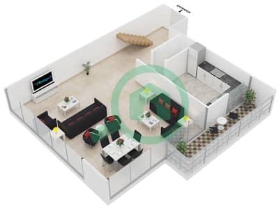 المخططات الطابقية لتصميم النموذج A1 شقة 3 غرف نوم - رويال ريزيدنس 1